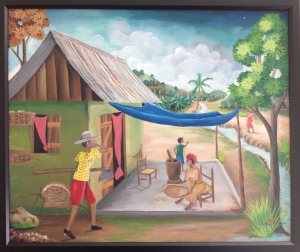 Painting of rural Haitian woman using mobile phone